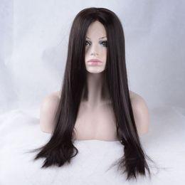 18 pouces perruque synthétique droite en Ligne-Perruque de perruque synthétique perruque frontale résistant à la chaleur droite 12-26 pouces de long # 2 perruque de cheveux de mode féminine pour les femmes noires