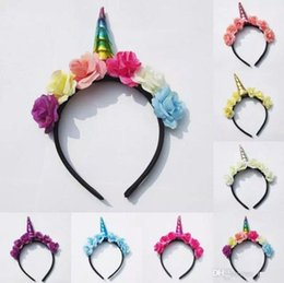 INS 2017 Cute Toddler Baby Magical Unicorn Horn Head Party Headband Dress Cosplay Decorative Headwear 7colors choose free ship