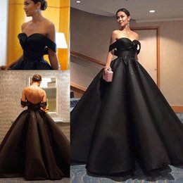 Gorgeous Black Off Shoulder Evening Dresses 2017 Satin Ball Gown Sequins Beaded Backless Prom Dress Saudi Arabia Formal Party Gowns