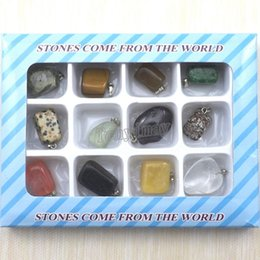 Mixed Lot Irregular Natural Stone Pendants For Necklace Free Shipping 24pcs Lot Unique Stone Charms Fit Necklace