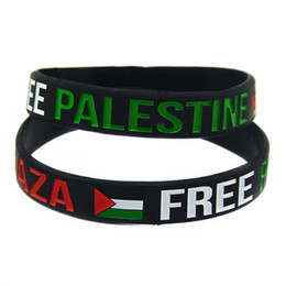 Wholesale 100PCS Lot Save Gaza Wristband Free PALESTINE Silicone Bracelet With Flag Black And Transparent Colour