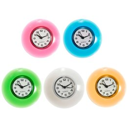 Wholesale Silicone Bathroom Kitchen Shower Suction Wall Clock Multicolor Water Resistant Timer Gift Red Blue Green Yellow White