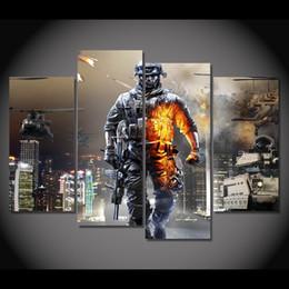 Descuento hd militar 4 PC / marco enmarcado HD imprimieron la pintura al óleo moderna de la lona del cartel de la impresión de la lona del arte de la pared de la imagen de la película del campo de batalla