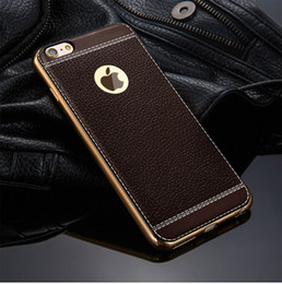 Wholesale Fundas Litchi grain Silicone Case for iPhone 6 6S Plus 7 Plating TPU Soft Cases Leather Pattern Cover