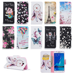 cute fashion Painted Leather Case For samsung a310 a510 a3 a5 j3 j5 j710 2016 Card Slot Flip Stand Protective Wallet case Cover