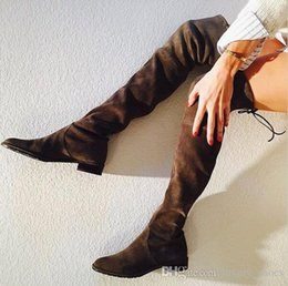 Wholesale 2016 Botines Mujer Fall Hot Designer Lowland Over The Knee Boots Brand Amy Green Lace Up Boots Flat Thigh High Women Boots
