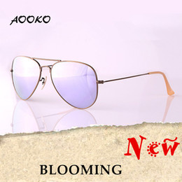 Wholesale AOOKO Hot Sale Men Women Sunglasses Alloy Bronze Frame Lavender Platinum Rose Cherry Peach pink Glass Lens Sunglasses mm MM with case