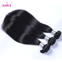 Peut teindre remy extensions de cheveux en Ligne-Brazilian Straight Virgin Hair Weave Bundles 3 / 4Pcs Lot Non Traité Brazillian Remy Extensions de cheveux humains Naturel Noir Couleur Peut être teint