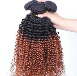 Brazilian Virgin Hair Kinky Curly 12-28 pouces Two Tone Ombre Trousses de tissage des cheveux humains 1b 27 30 99j à partir de 12 pouces cheveux humains deux tons fournisseurs