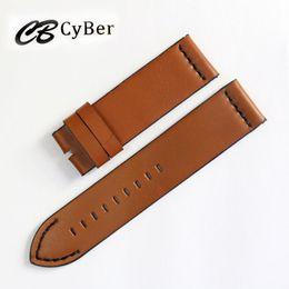 Cbcyber Genuine Leather WatchBand 24mm Watch strap With steel Buckles, men's bracelet belt for luxury watch