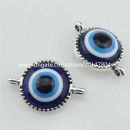 Malos encantos ojo azul en venta-21063 el ojo malvado azul de acrílico de la aleación de plata de la vendimia 15pcs encanta los resultados del conectador