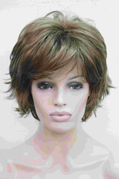 Free shipping Super light brown with blonde highlight highlights wavy flip ends lady' synthetic short wig