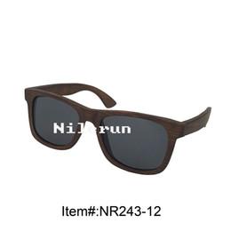 hot selling brand unisex black polarized lenses dark brown bamboo full frame sunglasses