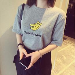 Wholesale Pattern Summer Womens T Shirts Short Sleeve Tops Tees Fruit Printed Tshirt Fashion For Women Banana Strawberry Print T Shirt