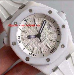 Cerámica blanca reloj de pulsera en venta-Relojes de lujo Pulsera de goma offshore Pulsera de cerámica blanca Reloj mecánico de hombre Reloj