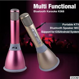 Wholesale K068 Wireless Microphone Pocket Party KTV Sing karaoke Wireless Bluetooth Microphone With Speaker For IPhone Android