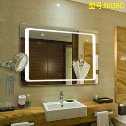 Miroirs suspendus décoratifs à vendre-Effets lumineux intelligents LED et fonction anti-brouillard salle de bain miroir salle de bains suspendu, personnalisation miroir décoratif