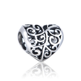 Wholesale Authentic Sterling Silver Beads European Charm Love Heart Design Women DIY Jewelry Findings Fits Chamilia Style Bracelet