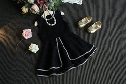 Wholesale 2016 Spring Autumn Korean Style Girls Fashion Jumper Skirt Round Neck With Bling Macrame Patch Multi layer Lace Tutu Skirt Cute DressesQ0473