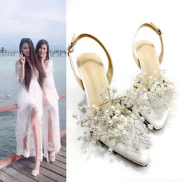 7.5CM Satin Women Fashion Sweet White Flower Lace Pointed High Heels Pearls Wedding Shoes Bride White Dress Shoes
