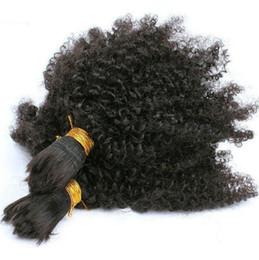 Compra Online Pelo trama doble teje-3 paquetes Indian Afro Kinky Curl 7A Tejido Negro Bundles India cabello de doble trama de trenzar pelo 3pcs