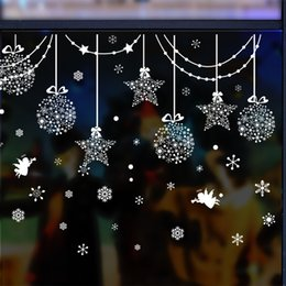 Wholesale Christmas White Snow Star Angel Glass Window Wall Sticker Wallpaper Home Decor for Living Room Market Shop Decoration New
