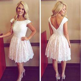 2016 vestidos formales cortos bohemios Los vestidos de boda bohemios del cordón lleno abren detrás los