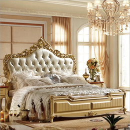 Wholesale factory price king size leather modern european solid wood bed Fashion Carved bed french bedroom furniture