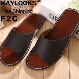 Free Shipping Summer Home Slippers 2017 Men Genuine Cow Leather Slipper Flat Slippers Floor Slipper Shoes