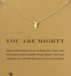 With card! Silver and gold color cute Dogeared Necklace with triangle (you are mighty), no fade, free shipping and high quality.