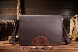 Free shipping Mens Genuine Leather Business Briefcase Laptop Notebook Bag Messenger Shoulder Business Bag Tote 8001