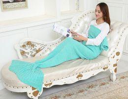 Wholesale 2016 Adult Handmade Mermaid Tail Blanket Crochet Mermaid Tail Sleeping Bags Cocoon Mattress Knit Sofa Blankets A1234