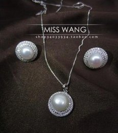 noble white diamond inlay pearl set necklace earing (0451)