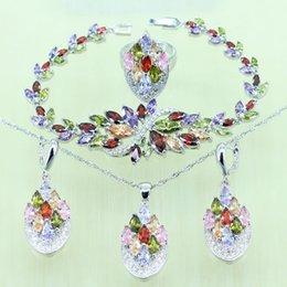 925 ensembles de mariée à vendre-Multi Gems 925 bijoux en argent sterling nuptiale Set pour les femmes Bracelet de mariage en cristal / Collier / Boucles d'oreilles / Ring J1013004