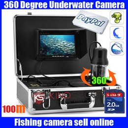 Wholesale 100m Degree View Remote Control SONY CCD Underwater Fishing DVR recorder Camera with Inch LCD moniot box underwater fish camera