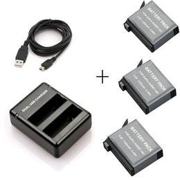 Descuento usb gopro 3x 1160mAh AHDBT-401 401 batería + cargador portuario dual del USB para Gopro Hero4 GOPRO