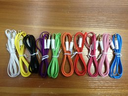 Wholesale Best sale Colorful MM Audio Cable Flat Aux Car Audio Cable for iPhone for Mobile Phones for MP3 MP4 for Tablet PC