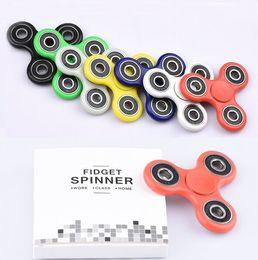 Wholesale EDC HandSpinner Hand Fidget Spinner Stocks Hand Spinner Triangle Tri Fidget Acrylic Plastic Ball Desk Focus Toy Finger Spinning