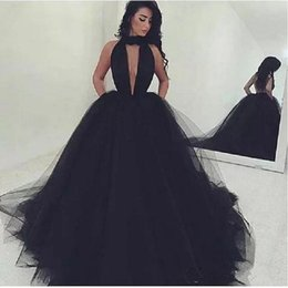 2017 Sexy Black Backless Prom Dresses High Neck Key Hole Ball Gowns vestidos de fiesta Women Evening Party Gown with Pockets Custom Made