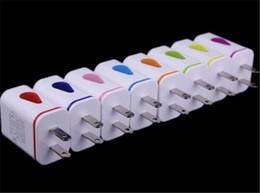 Wholesale Lumière vers le haut de l eau goutte LED Deux ports USB Home Travel Adaptateur secteur V A A AC US EU Plug Wall Chargeur pour iPhone Samsung HTC LG Tablet