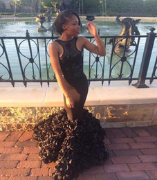 2017 New Black Girl Prom Dresses Sleeveless Sexy Backless Lace Sequins Handmade Flower Ruffles Evening Dresses Saudi Arabia Gowns