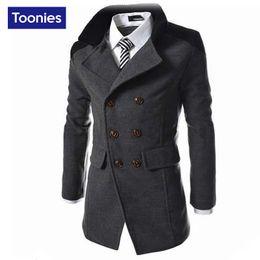 Wholesale 2016 Autumn Men s Cool Jacket Long Wool Overcoat Men Coat Double Breasted Men s Coat Business Casual Trench Coat Men Black Gray Navy Blue