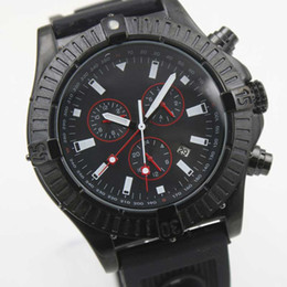 Wholesale - Luxury Brand Fine Quality Chronograph Quartz Watch Black Dial Men's Watch Black Rubber Belt Siliver Skeleton Men's watch