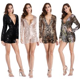 Sexy Backless Sequined Jumpsuit Romper Deep V Neck Long Sleeve One Piece Shorts Ladies Gold Black Party Club Jumpsuits Bodysuit ZSJG1106
