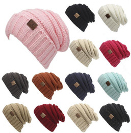 Wholesale Christmas Hat Adult - Fashion 13 Colors Knitted CC Women Beanie Girls Autumn Casual Cap Women's Warm Winter Hats Unisex Men Casual Hat DHL FREE SHIPPING C344