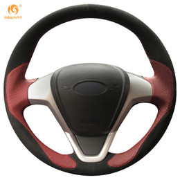 Mewant Wine Red Leather Black Suede Car Steering Wheel Cover for Ford Fiesta 2008-2013