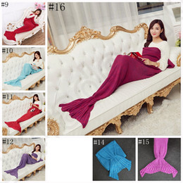 Wholesale Adultes Mermaid queue couverture cm chaude super tricoté couvertures douces literie Wrap Sofa couverture sac de couchage OOA990