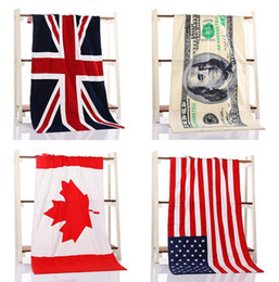 Wholesale pure cotton printing Euro Foreign trade bath towel United States England Canada national flag Bath towel beach towels Blanket
