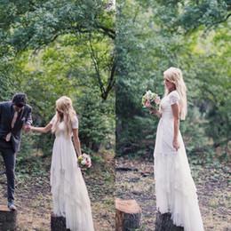 Modest Plus Size Country Wedding Dresses Cheap Asymmetrical Tiers Skirt Short Sleeve Bohemian Bridal Gowns