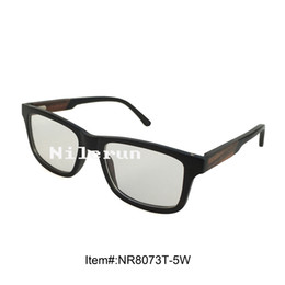 luxury ebony wood optical spectacles with acetate temple tips and opening cut